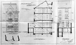 Boulevard Clovis 85-87, Bruxelles Extension Est, premier projet, élévations avant et arrière et coupe longitudinale, AVB/TP 25399 (1899).
