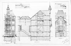 Boulevard Clovis 85-87, Bruxelles Extension Est, second projet, élévations avant et arrière et coupe longitudinale, AVB/TP 25399 (1900).