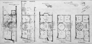 Boulevard Clovis 85-87, Bruxelles Extension Est, second projet, plans des cinq niveaux, AVB/TP 25399 (1900).