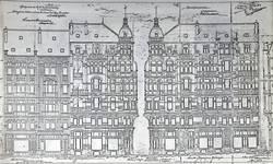 Rue Josaphat 271-273, 275-277 et avenue Louis Bertrand 53-61, Schaerbeek, élévations (I. Lehé, <i> Gustave Strauven. Architecte d'Art Nouveau</i> (mémoire), Institut supérieur libre des carrières artistiques, Paris, 1982, p. 10).