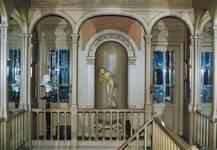 Square Ambiorix 11, Bruxelles Extension Est, cage d'escalier centrale, premier étage, vue vers l'arrière (© SPRB-BDU, photo APEB 2003).