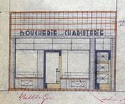 Rue Josaphat 338-340, Schaerbeek, projet de nouvelle devanture, état projeté, ACS/Urb. 176-63 (1950).