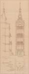 Square Ambiorix 11, Bruxelles Extension Est, premier projet, élévation, coupe longitudinale partielle et plan du perron, AVB/TP 122 (1900).