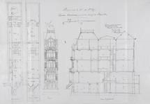 Square Ambiorix 11, Bruxelles Extension Est, deuxième projet, plans des deux premiers niveaux, élévation et coupe longitudinale, AVB/TP 122 (1900).