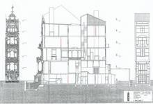 Square Ambiorix 11, Bruxelles Extension Est, façades et coupe longitudinale (P. Van Dijk, D. Maher, F. Mahieu, Maison Saint-Cyr. Square Ambiorix 11, Brussels, KULeuven, Project Work 1996-1997).