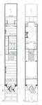 Square Ambiorix 11, Bruxelles Extension Est, plans des deux premiers niveaux (P. Van Dijk, D. Maher, F. Mahieu, <i>Maison Saint-Cyr. Square Ambiorix 11, Brussels</i>, KULeuven, Project Work 1996-1997).