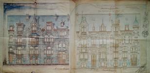Avenue Van Cutsem 27 à 29 et rue des Volontaires 1, Tournai, élévations, AET/Ville de Tournai/Voirie 16740/Plans 4487 (1904).
