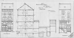 Rue Vanderhoeven 22, Saint-Josse-ten-Noode, élévations avant et arrière et coupe longitudinale, ACSJ/Urb. 6792 (1904).