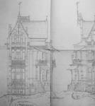 Ontwerp voor een villa in de Brusselse periferie, 1899-1900 (Carlo R. Chapelle, <i>Projet d'une étude historique de la maison connue sous le nom de 'Maison Saint-Cyr' construite en 1900-1903 par l'architecte Gustave Strauven (1878-1919)</i>, Brussel, MMXIV, p. 56).