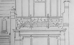 Detail van een ontwerp voor een villa in de Brusselse periferie, 1899-1900 (Carlo R. Chapelle, <i>Projet d'une étude historique de la maison connue sous le nom de 'Maison Saint-Cyr' construite en 1900-1903 par l'architecte Gustave Strauven (1878-1919) </i>, Brussel, MMXIV, p. 56).